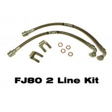 IPOR Stainless Steel Caliper Brake Line Kit,  FJ80, 91-97, Front only, 2 Brake Lines